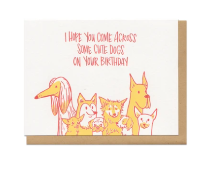 Frog & Toad Press Card - Cute Dogs Birthday