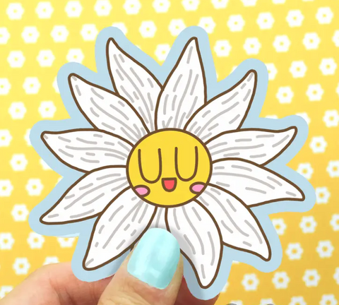 White Daisy Vinyl Sticker