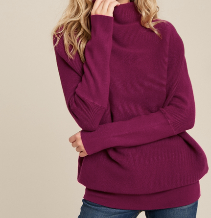 Karina Slouch Neck Dolman Top - Plum