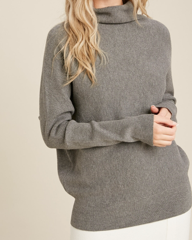 Karina Slouch Neck Dolman Top - Dark Grey