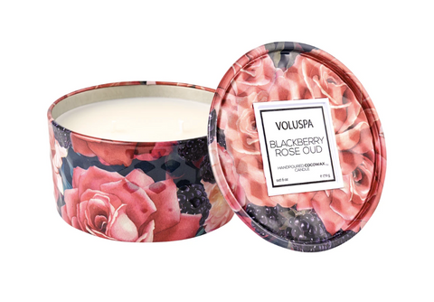 Voluspa Mini Tin Candle - Blackberry Rose Oud