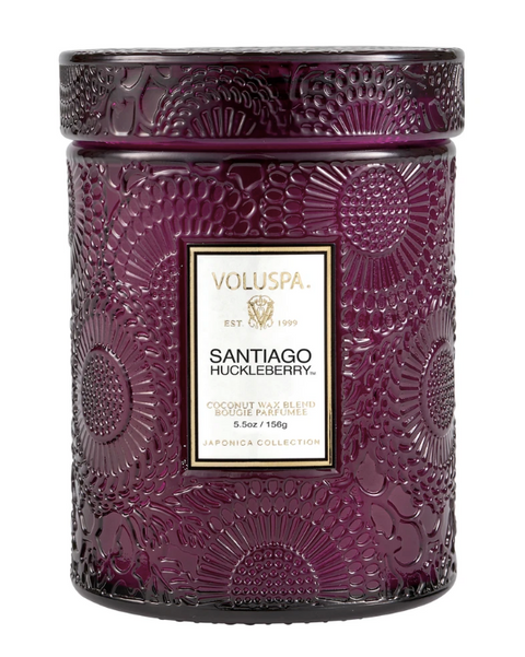 Voluspa Embossed Glass Jar Candle - Santiago Huckleberry
