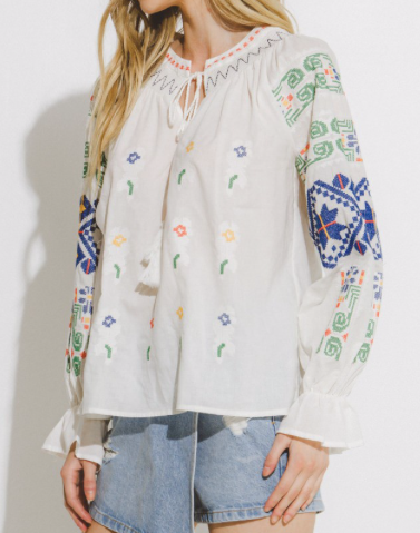 Robin Embroidered Long Sleeve Top