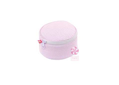 "Mint - 6"" Button Bag - Pink Seersucker"