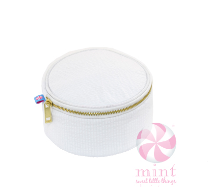 "Mint - 6"" Button Bag - White Seersucker"