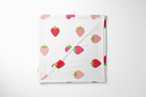 Organic Muslin Blanket - Berry Nice Strawberry