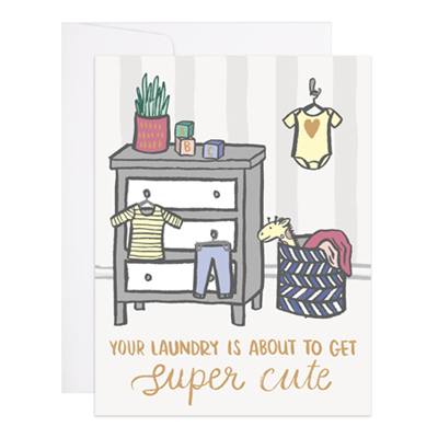 9th Letter Press Card - Super Cute Laundry