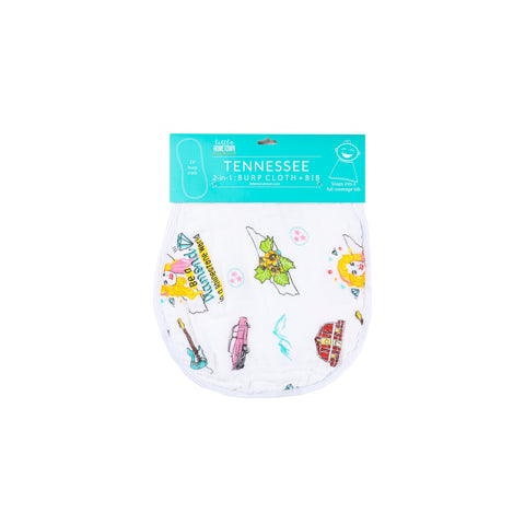Tennessee Floral 2-in-1 Burp Cloth & Bib