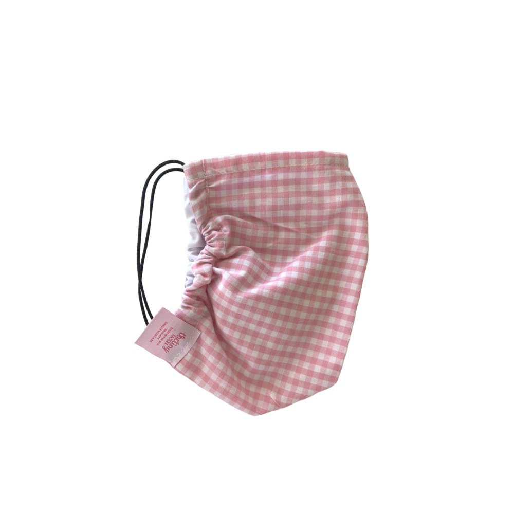 The Tiny Tassel Face Mask - Light Pink Gingham