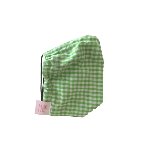 The Tiny Tassel Face Mask - Lime Green Gingham
