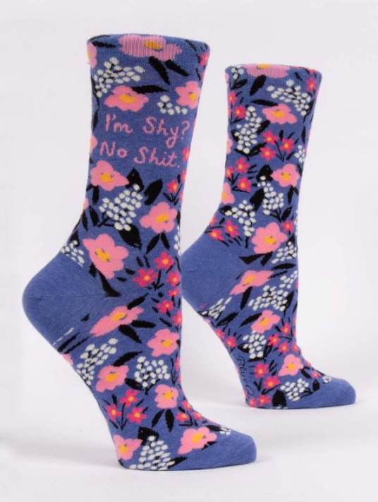 Blue Q Women's Crew Socks - I'm Shy? No Shit
