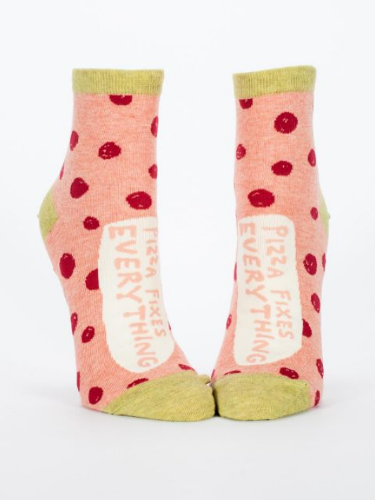 Blue Q Women's Ankle Socks - Pizza Fixes Everything