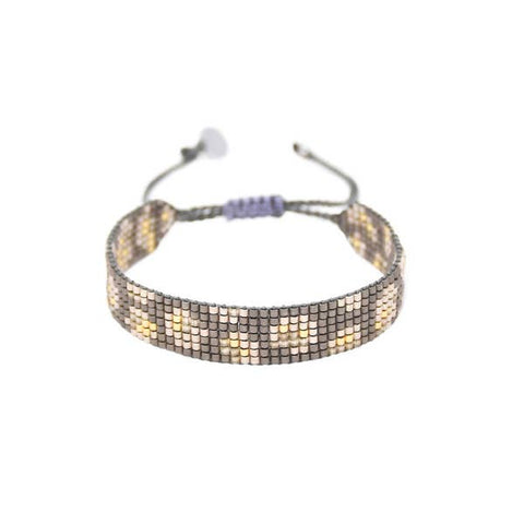 Mishky- Beaded Bracelet- Grey Panthera