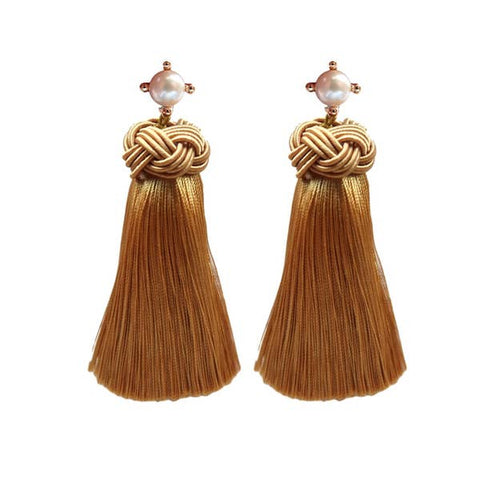 Pearl Tassel Earrings - Harvest Gold