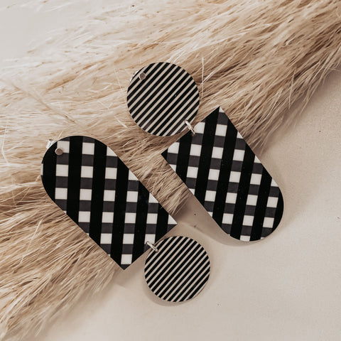 Ebony Striped Gingham Asymmetrical Tab Stud Earrings