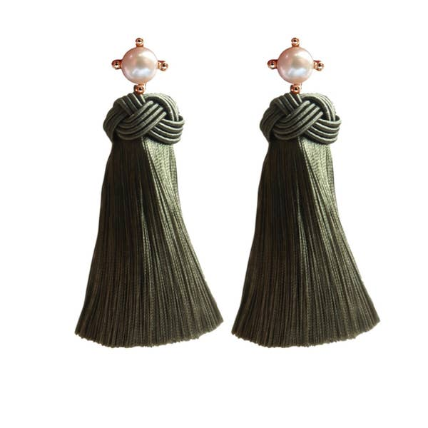 Pearl Tassel Earrings - Olive