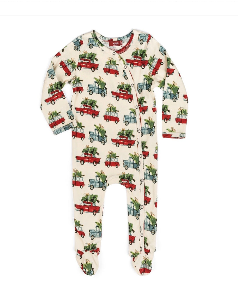 Milkbarn Organic Footed Romper - Christmas Car