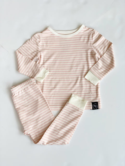 Sweet Bamboo Youth Pajamas - Pink & White Stripes