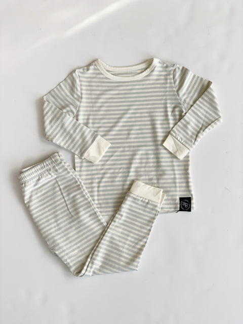 Sweet Bamboo Youth Pajamas - Blue & White Stripes