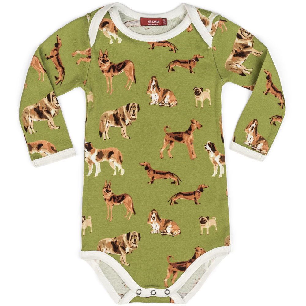 Milkbarn Long Sleeve One Piece - Green Dog