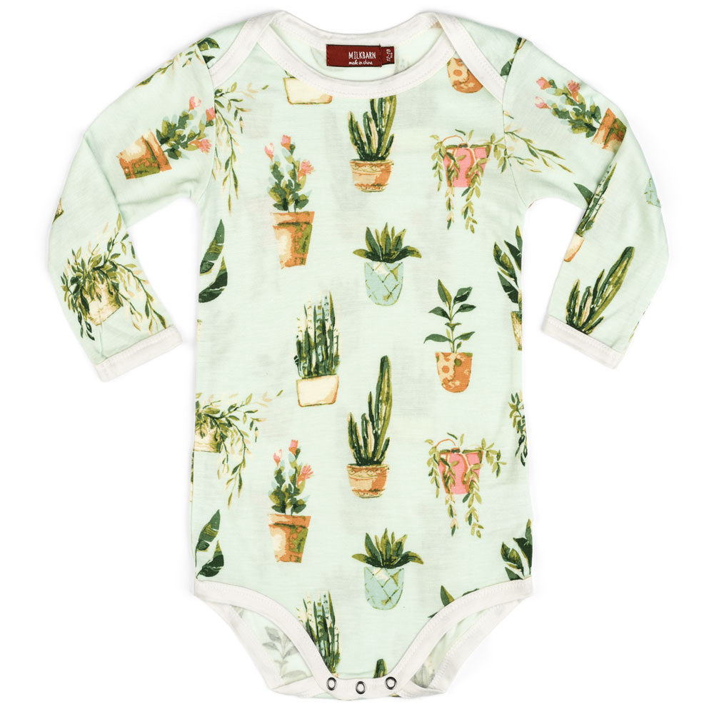 Milkbarn Long Sleeve One Piece - Potted Plants