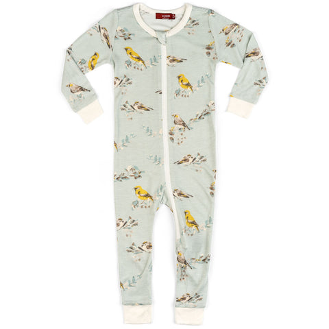 Milkbarn Zipper Pajamas - Blue Bird