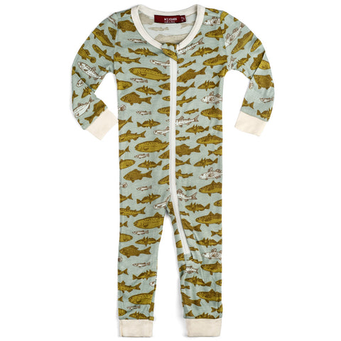 Milkbarn Zipper Pajamas - Blue Fish