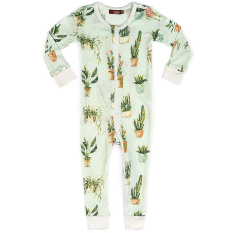 Milkbarn Organic Zipper Pajamas - Potted Plants