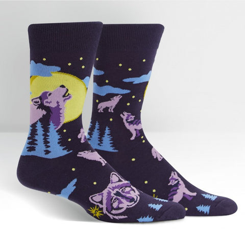 Sock It To Me Men's Crew Socks - Wolf Moon