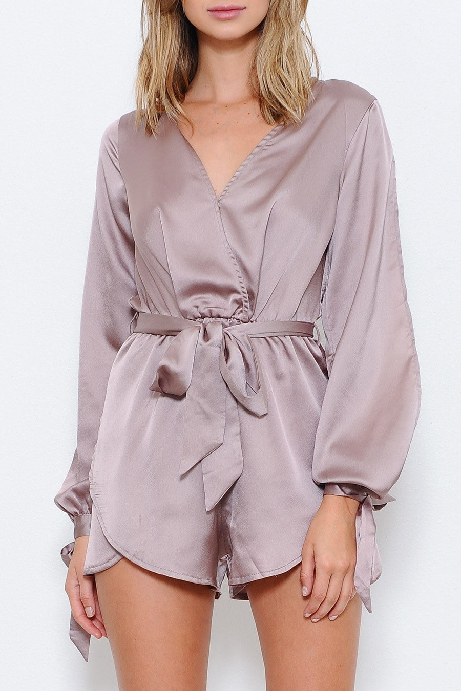 Jade Satin Wrap Playsuit