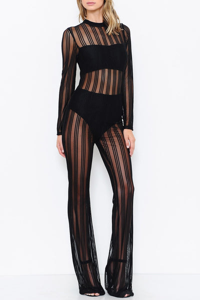 Sheer Stripes Jumpsuit