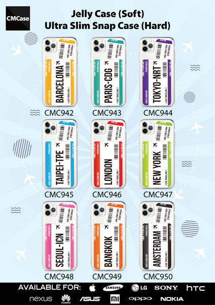 Custom - Travelholic Air Tickets Clear Case (CMC943)