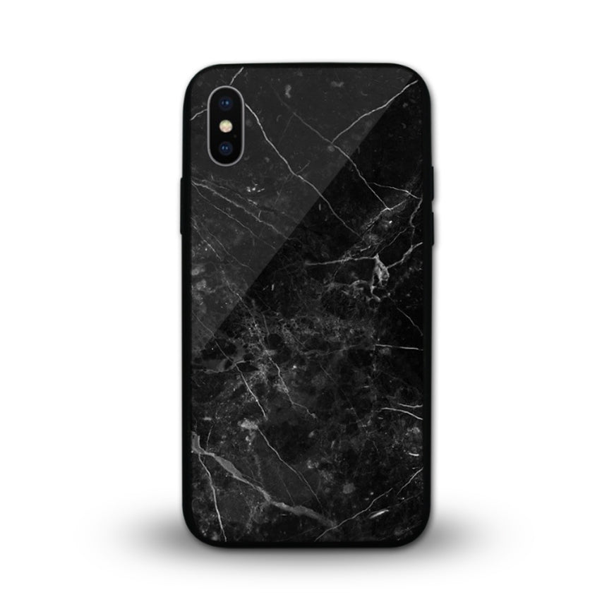 Glossy Graphic Glass Case - Black Marble (CMC981)