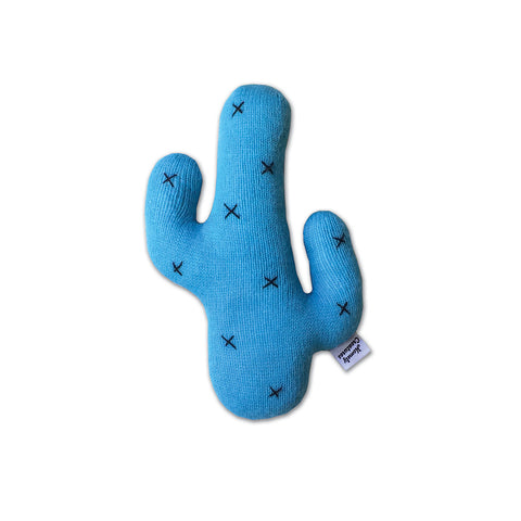 Knitted Cactus Cushion Blue (Small)