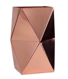 Metallic Copper Geo Vase Large