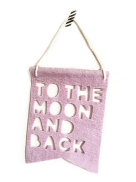 'To The Moon And Back' Felt Banner (Pink)