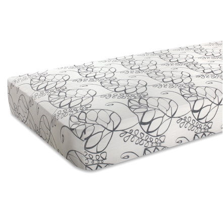 Bamboo Cot Sheet 'Moonlight Leafy'
