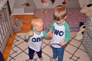 Green and White Raglan Birthday Shirt with Navy Block Ink