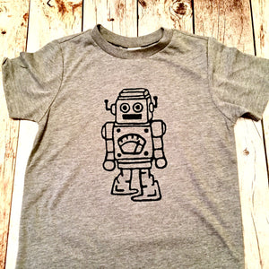 Robot boys grey kids shirt