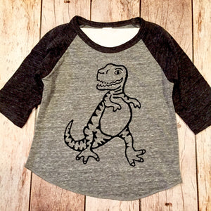 Tyrannosaurus Rex T. rex dinosaur boys charcoal and grey sports baseball raglan kids shirt