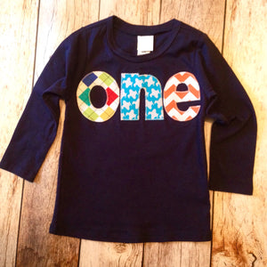 Gingham with Long Sleeve Navy one Birthday Shirt - applique argyle, airplanes, chevron- Boys 1st Birthday