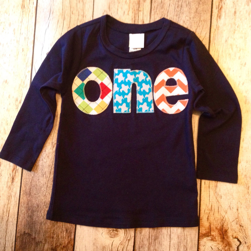 pilot 1st Birthday shirt Long Sleeve Navy one Birthday Shirt - applique argyle, airplanes, chevron- Boys 1st Birthday