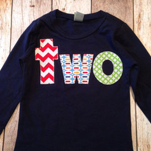 Green Aqua Red Navy two Birthday Shirt - long sleeves red, chevron, Pez, green circles- Boys 2nd Birthday- 2 year old cake and party theme