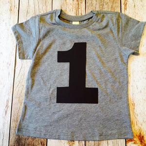 Boys Number Grey Kids Birthday Shirt 1 2 3 4 5 Year Old