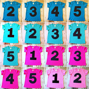 Pink or Blue kids Birthday shirt 1 2 3 4 5 year old