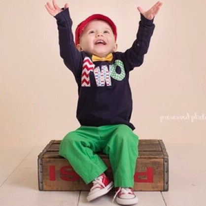 Navy two Birthday Shirt - long sleeves red, chevron, Pez, green circles- Boys 2nd Birthday- 2 year old cake and party theme