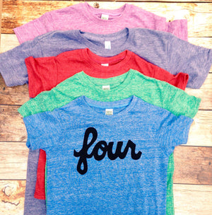 Script four SALE Colors- red, blue, grey, mint, purple- boys 4th birthday shirt with black 4 year old kids