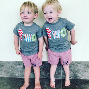 Fan Photo 2 twins Birthday Shirt two year old 2nd red chevron, pez and green circles short sleeves