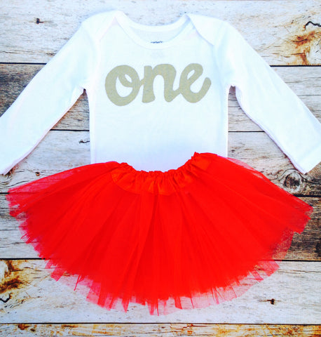 2 pieces Red tutu with long sleeve gold glitter one onesie, girls 1st Birthday outfit Valentine's Day girls first birthday outfit