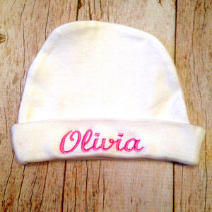 White with Pink script font Newborn Hospital Hat Personalized Name Beanie Cap Boy's Blue Girl's Pink on White infant baby Shower Party embroidery photo